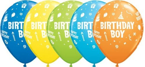 Birthday Party Boy Assorted Latex Balloons (6) by Baby Celebrations by Baby Celebrations