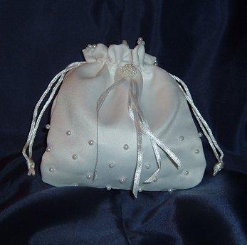 (IGC Satin White Bridal Wedding Money Bag - White Pearl Design)