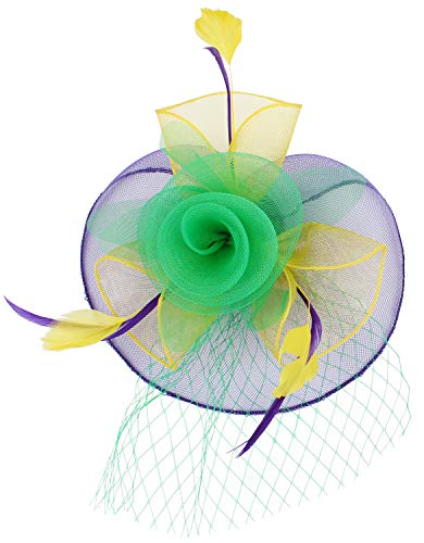 JASMINO Women Mardi Gras Fascinator Hats Hair Clip Flower Brooch Feather Headband Mesh Veil Derby Tea Pillbox Cocktail Party(03-Purple Yellow Green 1)