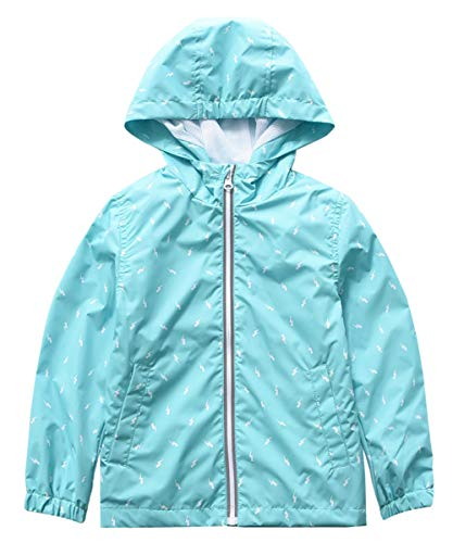 M2C Girls Lightweight Windproof Coat Hooded Water Resistant Jacket 4T Blue Lightning Print - Hooded Print Coat