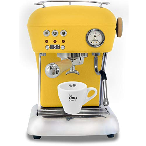 Ascaso Dream Up V3 Sun Yellow PID Wood Handle Semi-Automatic Espresso Machine – w/Ascaso Cup & Saucer