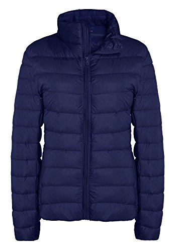 Quilted Puffer (ZSHOW Women's Puffer Coats Lightweight Packable Quilted Down Jackets, US Small, Navy)