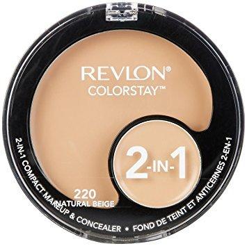 (Pack 2) Revlon ColorStay 2-in-1 Compact Makeup & Concealer, Natural Beige, -