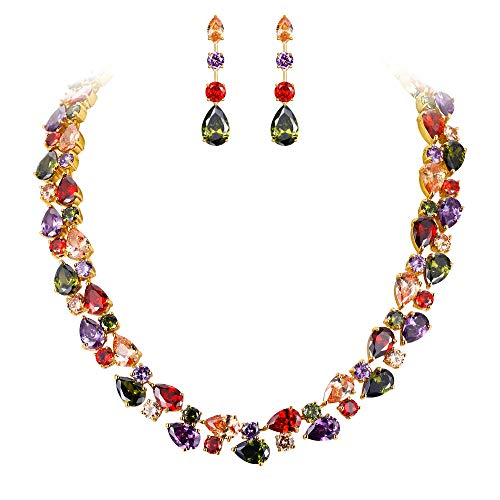 EVER FAITH Gold-Tone Zircon Party Double Layers Tear Drop Necklace Earrings Set Multicolor ()
