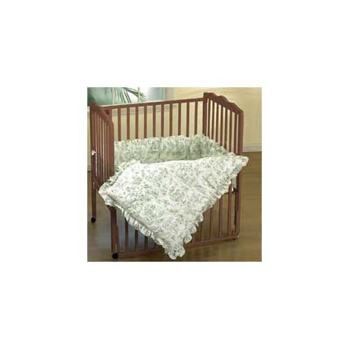 Baby Doll Bedding Toile Mini Crib/Port-a-Crib Set, Green
