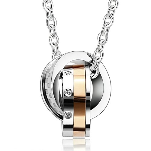 Stainless Steel Love Infinity Double Ring Necklace (Gold Plated) - 2