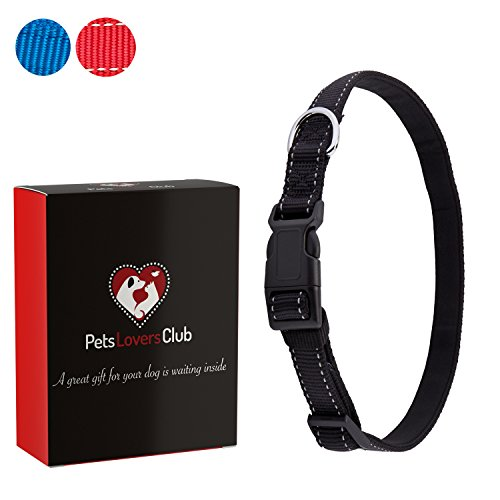 Dog Lovers Club - Premium Dog Collar | Reflective Lines for Safer Night Walks | Padded Webbing Protects Dogs From Rashes | Weather-proof Nylon Material Will Not Bleed Color | For Medium & Large Dogs | Black