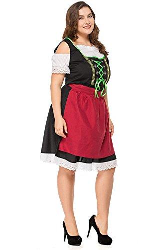 Traje 2 Vestido Cosplay Uds Mucama De Traje Dirndl para De Midi Traje Rojo Vestidos Mujer Halloween De Set Oktoberfest Ropa qpSwtr0RSx
