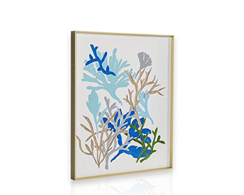 H HOMEPAINT Framed Wall Painting and Contemporary Wood Wall Art (Aquatic Plants) Inspirational, Hand Carving and Hand Painting Abstract Home, Office, Kitchen Decor GHGWA17220 ()