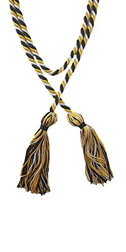 (Three-Color Braided Honor Graduation Cords (Black/Gold/White))