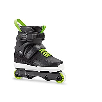 Image of Children's Inline Skates Rollerblade NJR Kid's Size Adjustable Street Inline Skate, Black and Green, High Performance Inline Skates, Youth