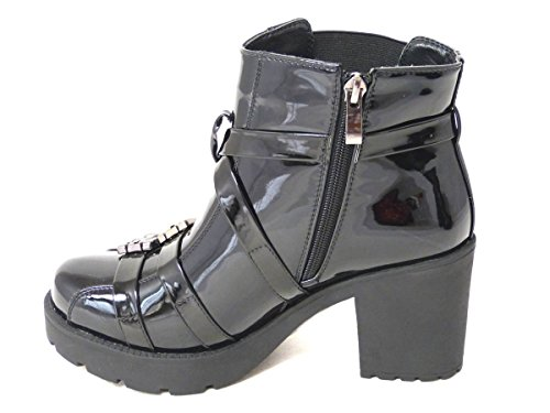 Womens Ladies Cut Out Sides Peep Toe Chelsea Ankle Boots Cleated Sole Gold Clasps Buckle Shoes Various Designs Size 3 4 5 6 7 8 black patent e8yL8e5O