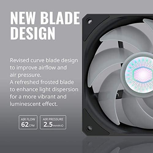 Cooler Master SickleFlow 120 V2 Ventilador de marco cuadrado con LED azul de 120 mm con diseño de hoja curva de equilibrio de aire, rodamiento sellado, control PWM para carcasa de computadora y radiador de líquido