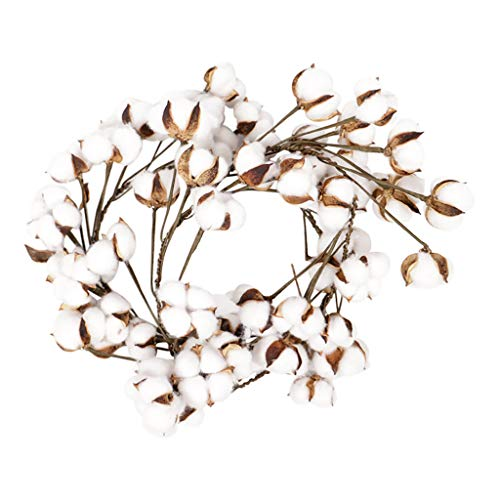 jiumoji Adjustable White Cotton Floral Stems Wreath for Front Door Wall Wedding Elegant Classic Decor (Ware Stem)