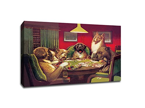 Dogs Playing Poker 2 - Vintage Ads - 36x24 Gallery Wrapped Canvas Wall Art ()