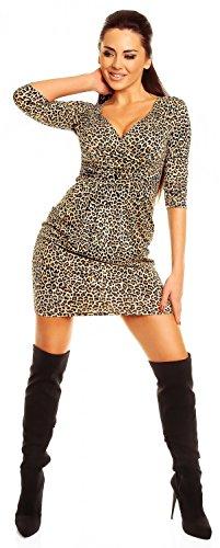 Zeta Ville - mujeres cintura del imperio Vestido tulipán tamaño 8-20 - 236z Leopard