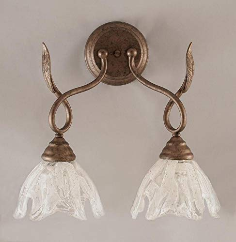 Toltec Lighting 110-BRZ-759 Leaf Two-Light Wall Sconce Bronze Finish with Italian Ice Glass Shade, 7-Inch
