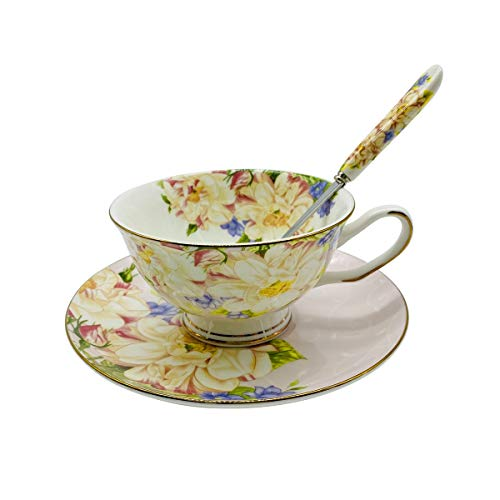 Krysclove European Fine Bone China Teacup and Saucer Set, Delicate Royal Bone China Coffee Mug Ceramic Tea Cups (Pink)