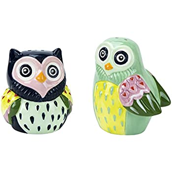 Salt & Pepper Shakers, Artsy Owl Collection, Hand-painted Ceramic by Boston Warehouse