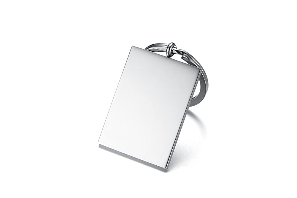 2 Pcs Stainless Steel Simple Rectangle Dogtag Personalized Customize Polished Simple Mens Blank Keychain Keyring