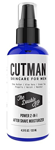 UPC 718117016820, Cutman After Shave Balm + Face Moisturizer For Men - 4.5 Oz Of Double KO - Menthol and Caffeine Soothes and Recharge - Attack Ingrown Hairs - Defends Dry Skin - Organic 2 In 1 Anti-Aging Aftershave
