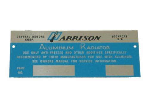 - 1960-1962 Corvette Radiator Metal Plate Harrison Blank