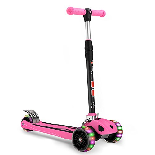 Xhban Children Scooter Toys Best Gift Birthday With Pu Flash Wheel Adjustable Handlbar Height Pink