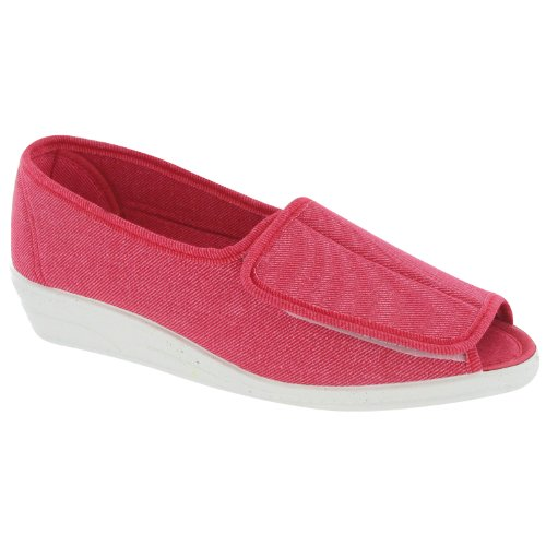 Mirak Touch Fastened Textile Lined Womens Summer Shoes - Red - Size 3 4 5 6 7 8 Rojo