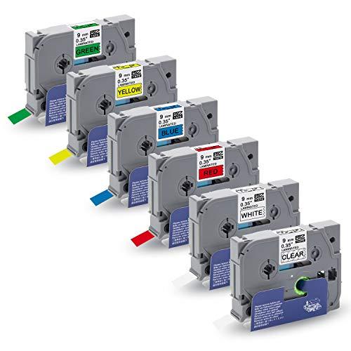 "5x Label Tapes TZe221-TZe721 9mm 0.35/"" Compatible Brother p-touch PT-D400 D210"