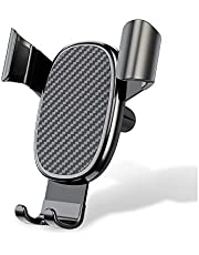 IGUGIG Car Air Vent Phone Holder Gravity Phone Cradle Compatible with for iPhone Xs X XR 6S 7 Plus 8 5S 6, Samsung Galaxy S10 S9 S7 Edge S8 S6, Google Pixel 2 XL, LG G6 (CFRP)