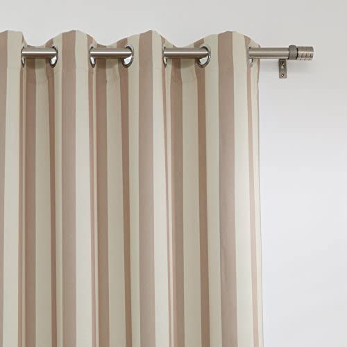 Best Home Fashion Room Darkening Vertical Stripe Curtains Stainless Steel Nickel Grommet Top Biscuit Beige 52 W x 84 L Set of 2 Panels