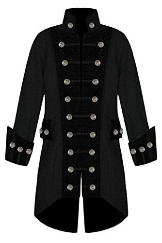 Double Victorien Costume Halloween Noir Boutonnage Gothique Steampunk Prettycos Homme Manteau Vintage w8HqYTX