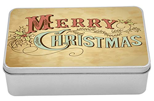 Lunarable Merry Christmas Metal Box, Vintage Merry Xmas Message Holly Berry, Multi-Purpose Rectangular Tin Box Container with Lid, 7.2