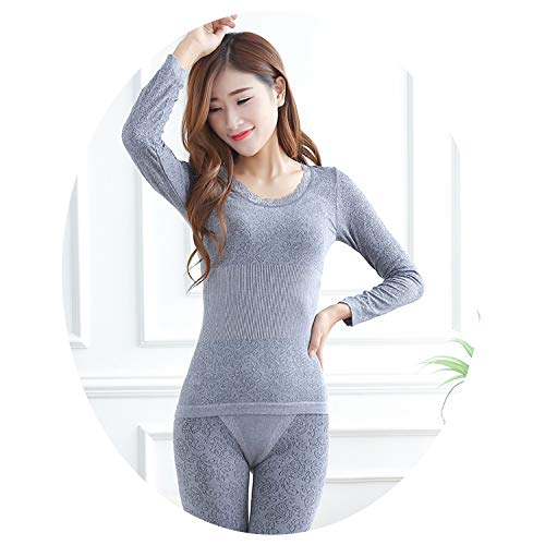 Women Tunic Winter Thermal Underwears Fashion Seamless Breathable Warm Long Johns Ladies Slim Underwears Sets Bottoming,Grey,M (Polypro Pants Womens)
