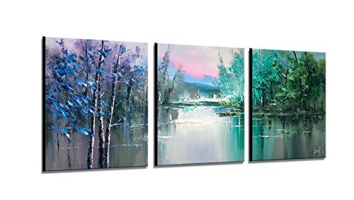 Forest Lake boating Contemporary Art Oil Painting On Canvas Modern Home Interior Decor Abstract Art Texture Palette Knife 3 Panels Ready to Hang