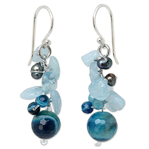 NOVICA Multi-gem Dyed Cultured Freshwater Pearl Sterling Silver Beaded Dangle Earrings, 'Azure Love' by NOVICA