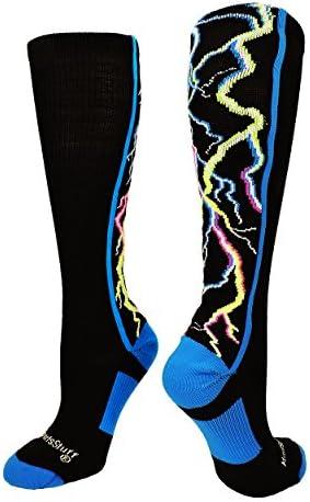 靴下 ふくらはぎ部分にイナズマのデザイン