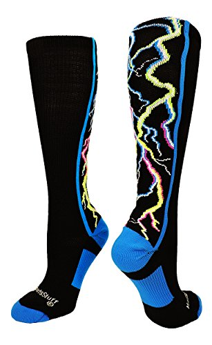 Lightning Bolt Electric Storm OTC Socks (Multi-Neon/Black, Medium)