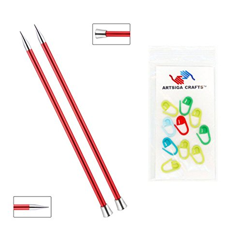 Knitter's Pride Zing Single Pointed Knitting Needles 14in. Size US 13 (9mm) Bundle with 10 Artsiga Crafts Stitch Markers 140287 9mm Us 13 Needles