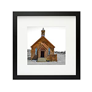 Frametory, 12x12 Black Picture Frame - Made to Display Pictures 8x8 Photo with Ivory Color Mat - Wide Molding - Built in Hanging Features (12x12, Black)