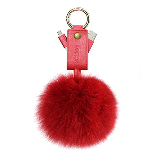 CMK Trendy Kids Fur Ball Keychain Cell Phone Cables Pom Pom