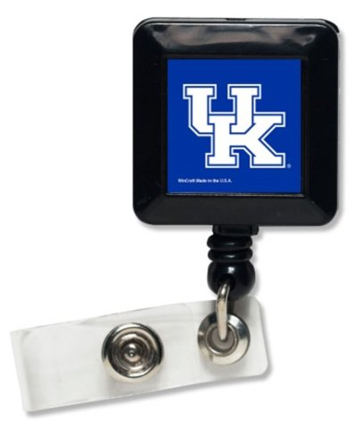 WinCraft NCAA University of Kentucky Wildcats Square Badge Holder, Metal Clip