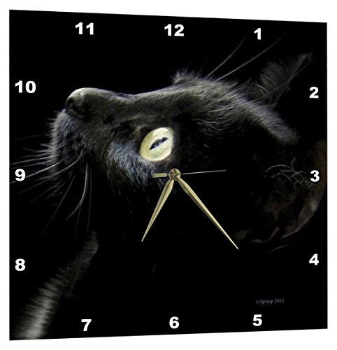 3dRose Black Cat Face - Wall Clock, 15 by 15-Inch ()