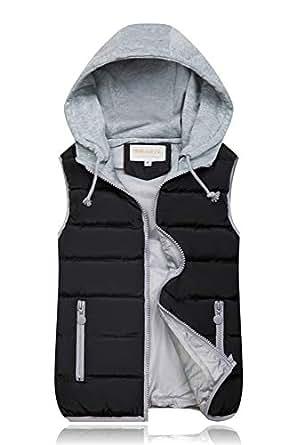 BOZEVON Women Winter Gilet - Hooded Full Zipper Tops Sleeveless Down Jacket Coat Vest Outwear with Pocket,Black,US 2XL=Tag 3XL