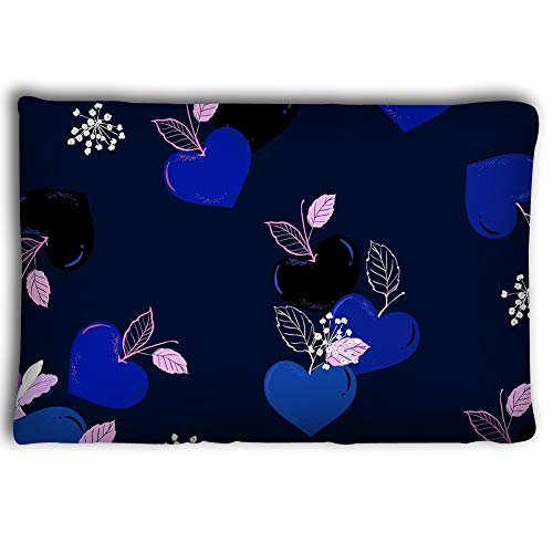 Pillow Cases Fruity Heart Shape Seasonal Love Seamless Pattern Vector Design Fashion Fabric Wallpaper All Prints Navy Blue 2030inch