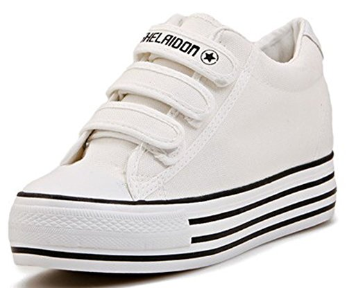 Cheap IDIFU Women's Casual High Platform Canvas Sneakers Velcro Heighten Skateboard Shoes White 7 B(M) US