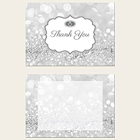 engagement thank you cards silver glitter pattern pack of 10