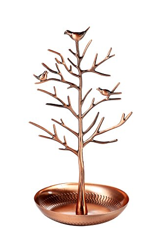 Copper Tree (Shabby Chic Birds In Tree Jewelry Display - Holder Organizer for Necklaces, Bracelets, Earrings - Copper Plated)