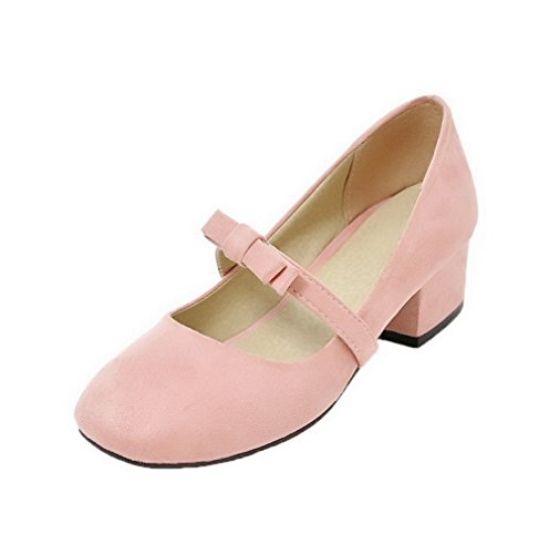 WeenFashion Women's Solid Frosted Low Heels Pull B07BBN79TH On Pointed Closed Toe Pumps-Shoes B07BBN79TH Pull Parent 34f623