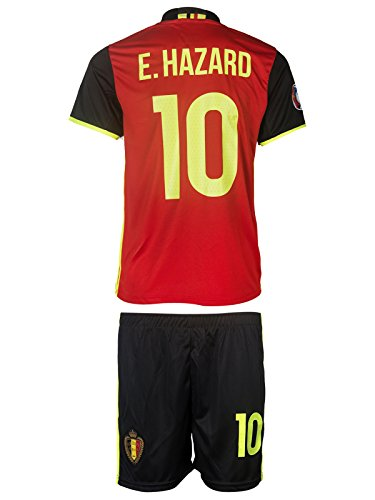 NEW! - Belgium UEFA Euro 2016 #10 Hazard Home Soccer Kids Jersey & Shorts - Youth Sizes (L - (8-9 Ages))